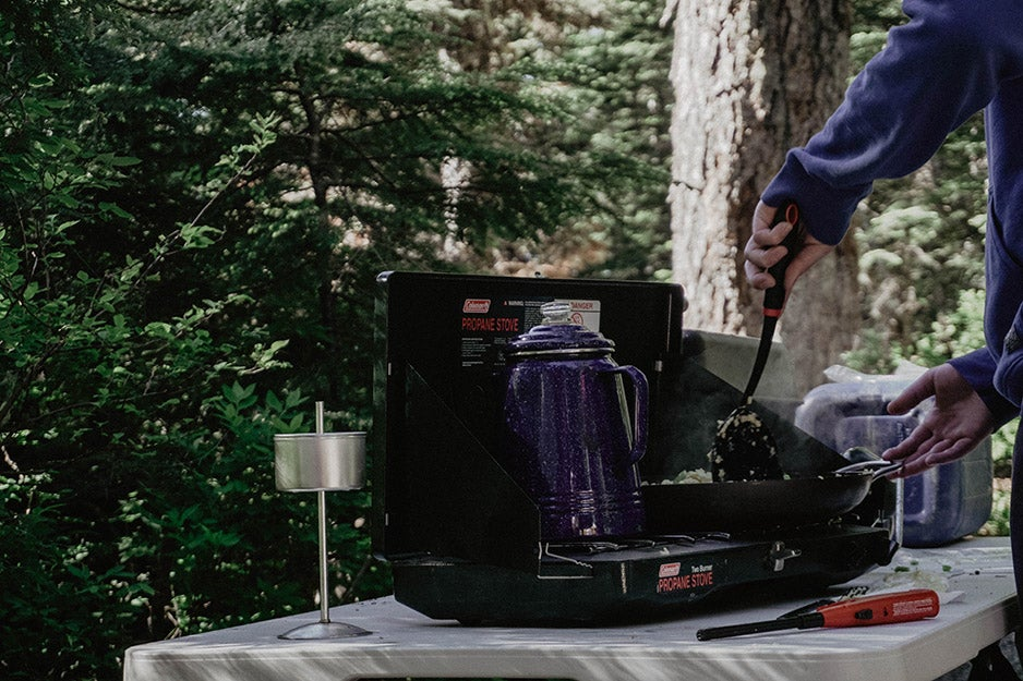 cooking at a campsite