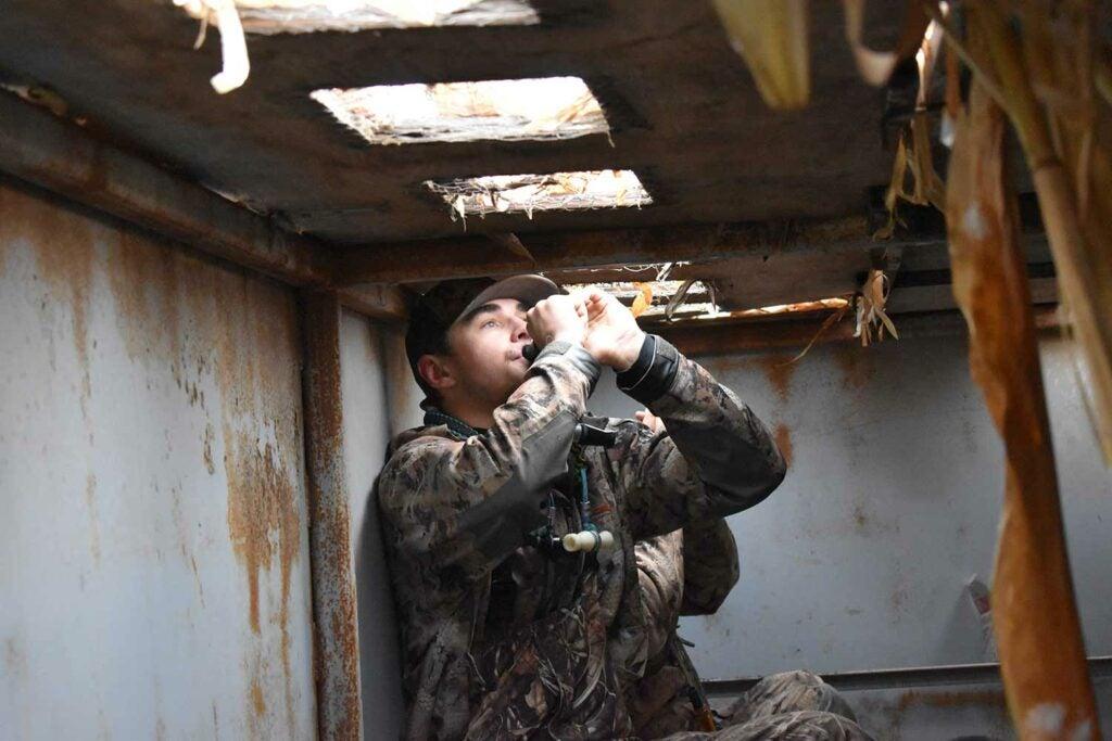 Hunter in a goose blind.