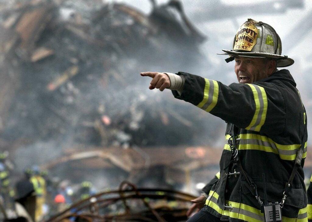Fireman in the rubble.