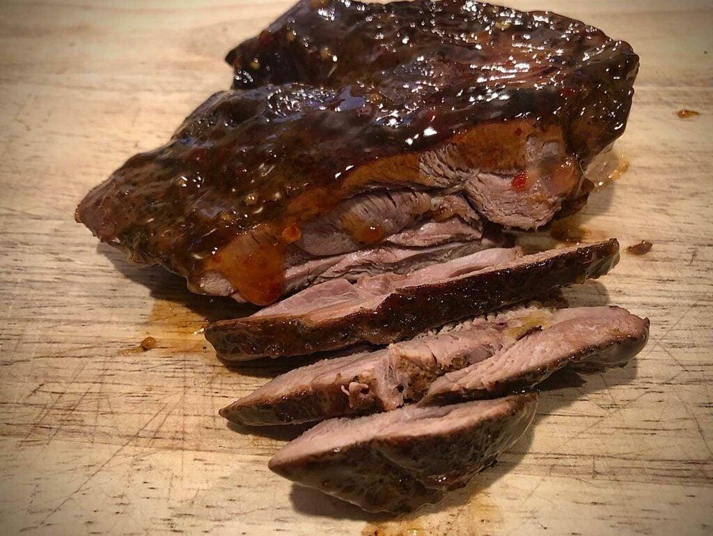 Barbecued wild turkey thigh.