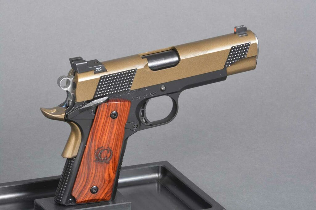 A custom cerokoted 1911 handgun.