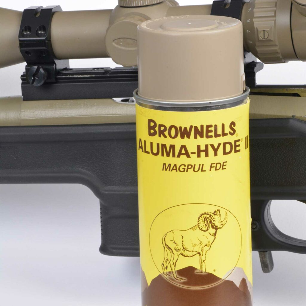 A dry, rattle can of Brownells Aluma-Hyde