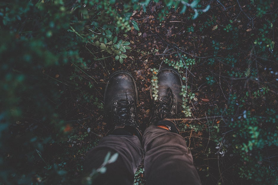 boots on a wet ground