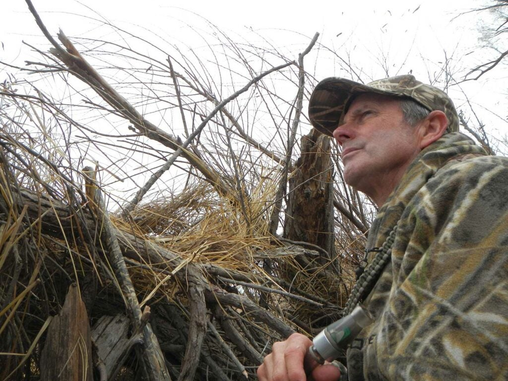 A hunter in a brush blind with a duck call.