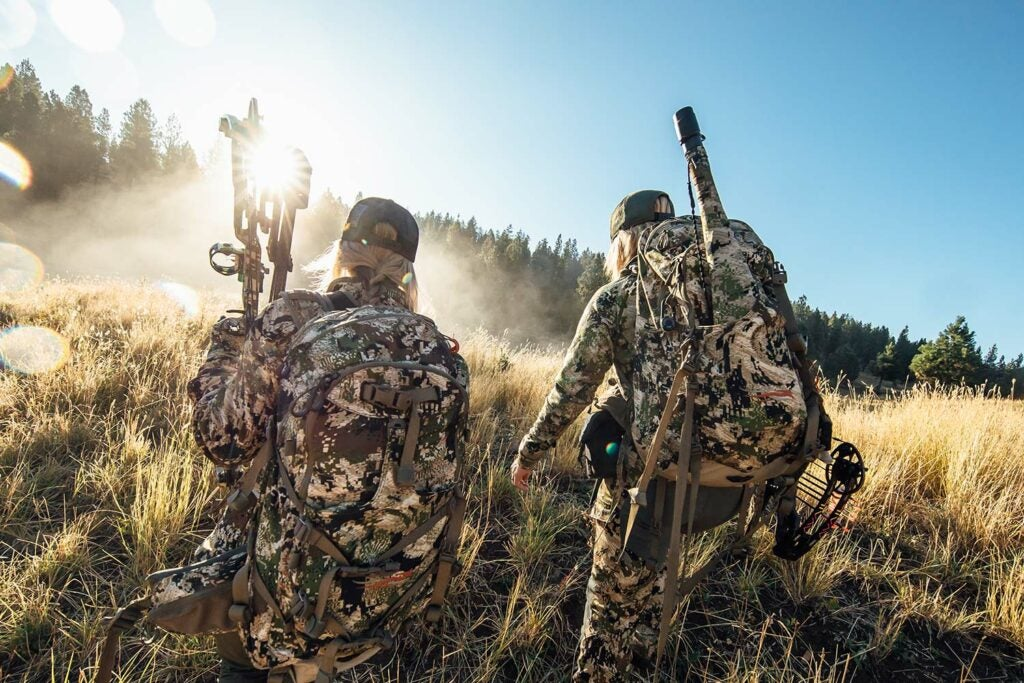 Two hunters scouting through an open field.