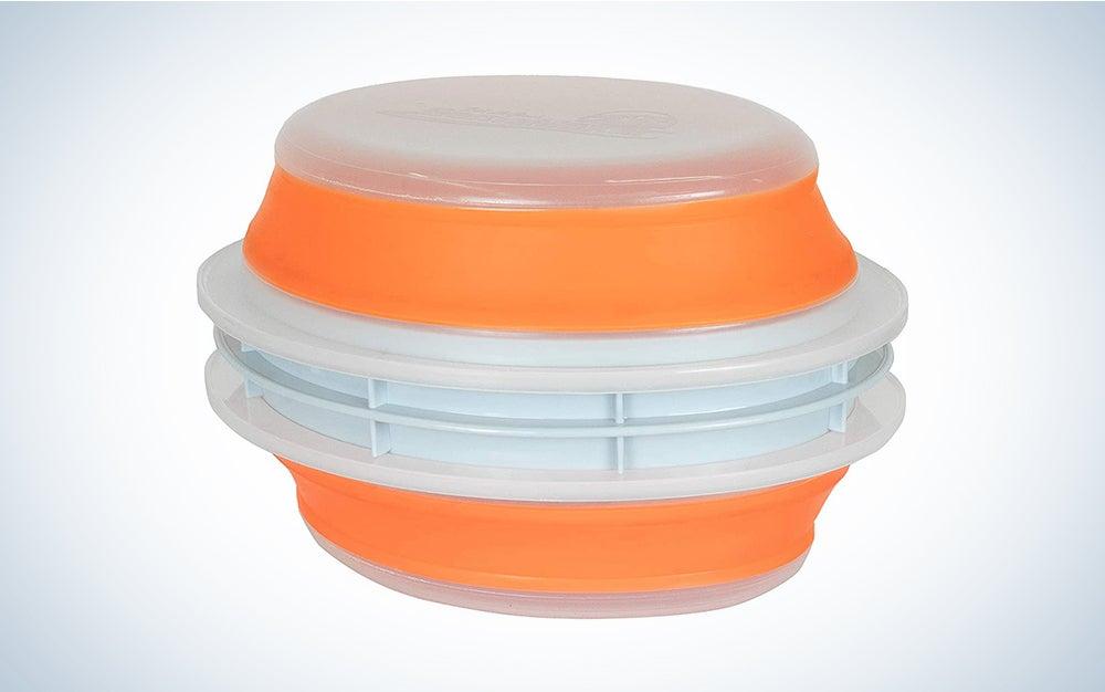 CanCooker Original Collapsible & Mess-Free Batter Bowl, Clear & Orange, Standard