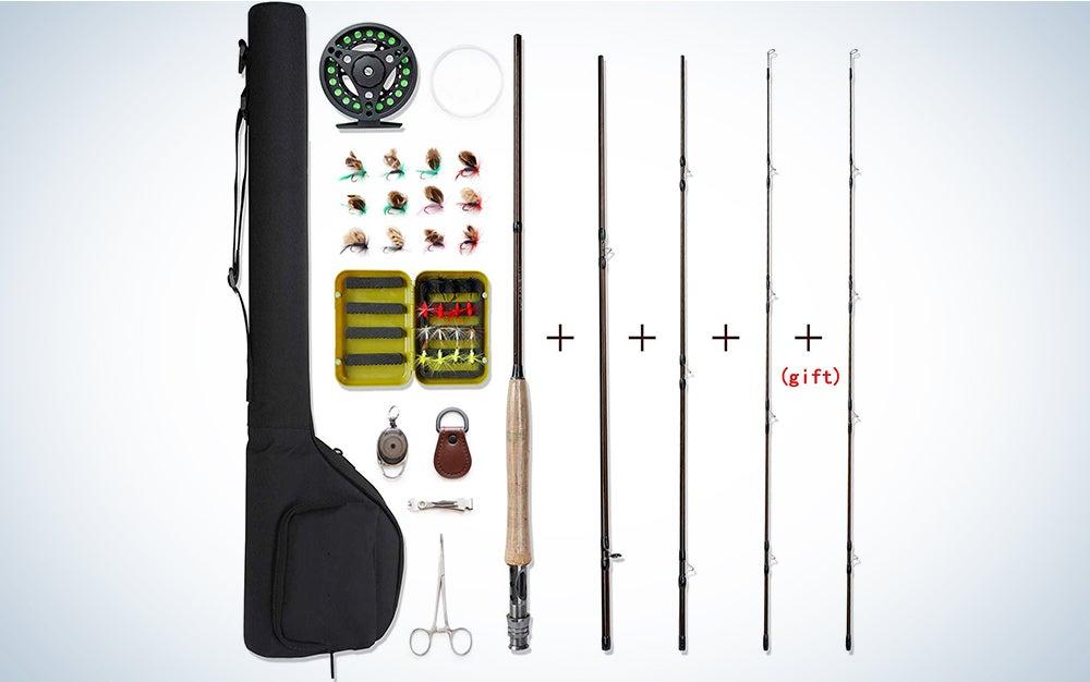 NetAngler Fly Fishing Rod and Reel Combo 4-Piece Fly Fishing Rod 5-weight Aluminum Fly Reel Complete Starter Full Kit