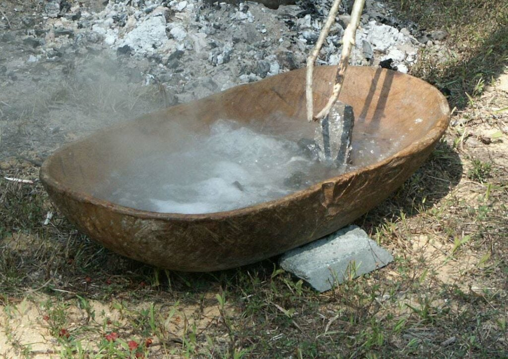 A carved boiling rock.