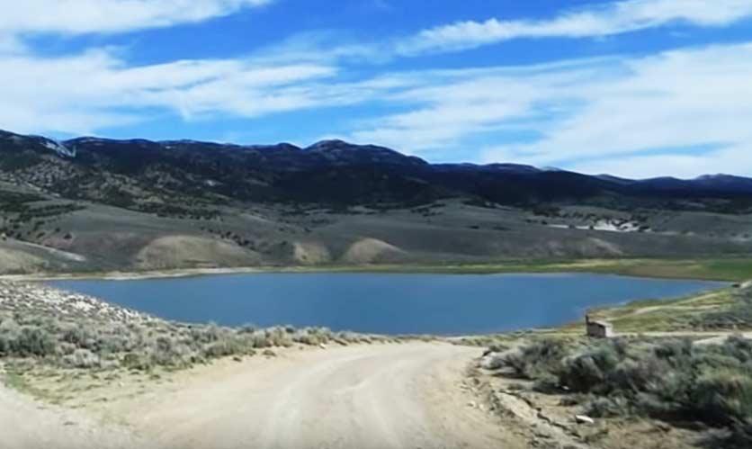 A landscape view of the Illipah Creek Reservoir.