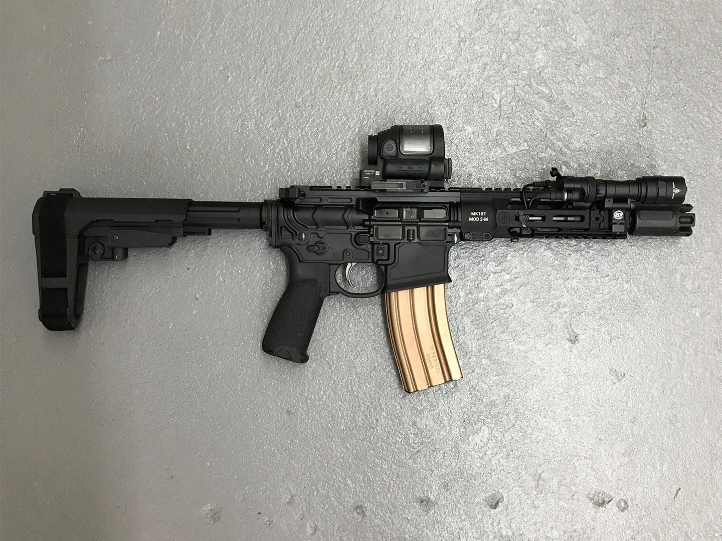 A Primary Weapons sSystem MK107 Mod 2-M rifle.