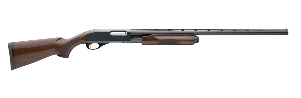 wood-stock pump action shotgun with a black barrel and receiver