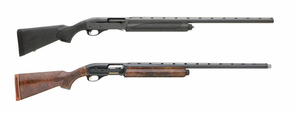 Black synthetic and fancy wood-stocked semi-auto shotguns
