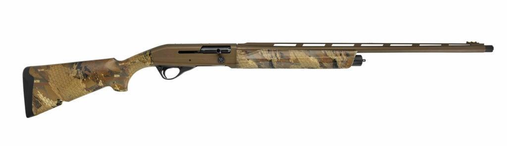 tan and camo semi-auto shotgun with rib and cerakote receiver