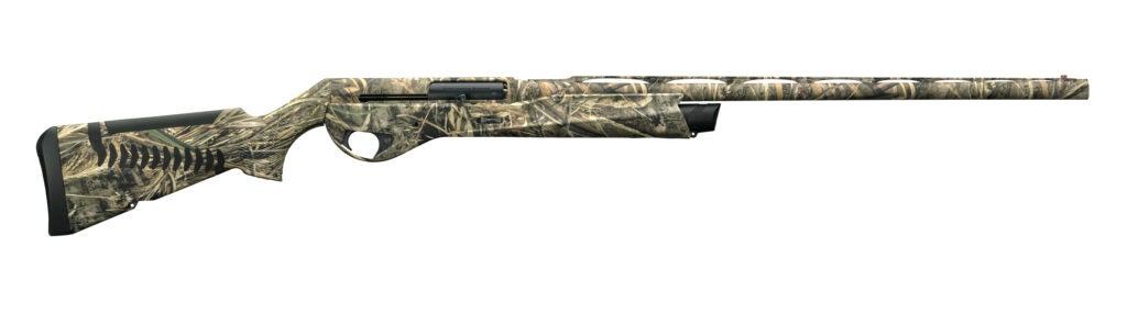 camo waterfowl semi-auto shotgun with black buttpad and fore-end cap
