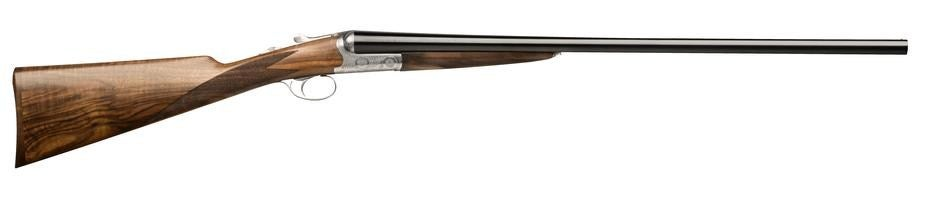 an Italian-made side-by-side double barrel wood-stocked shotgun with silver receiver from Beretta