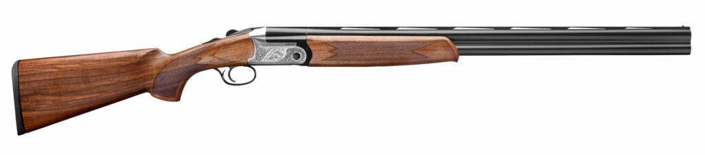a wood-stocked double-barrel over/under shotgun from Fabarm with a metallic receiver