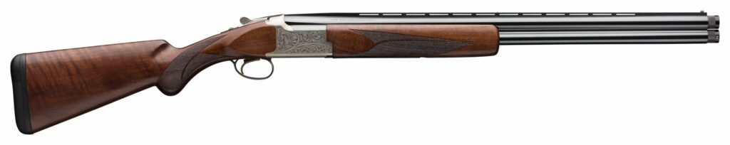 wood-stocked Browning Citori over/under shotgun with rib and metal receiver