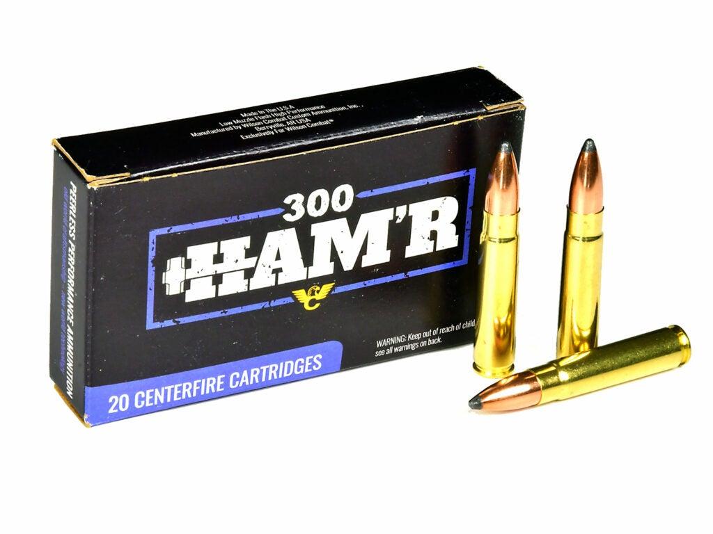 A box of 300 Ham'r centerfire rifle ammo cartridges.