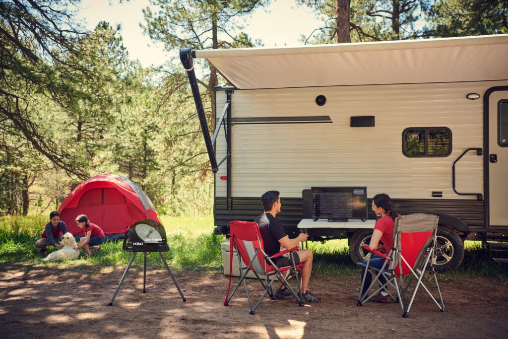 A camp site set up with DISH Outdoors.