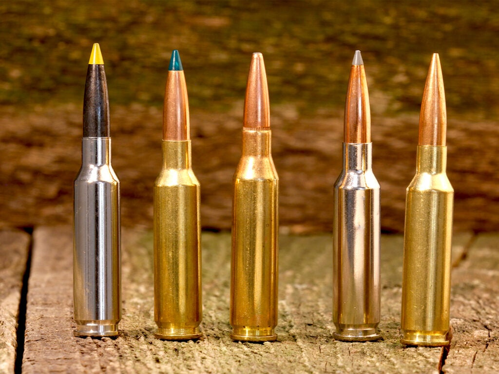 A lineup of rifle ammunition on a wooden table.