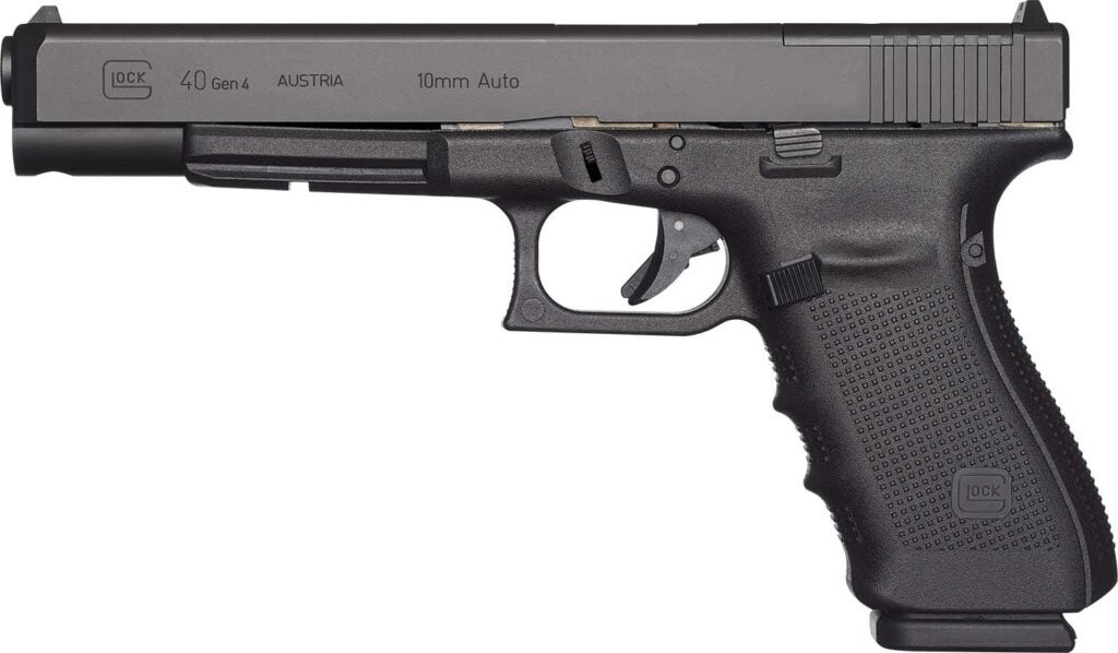 A glock 40 on a white background.