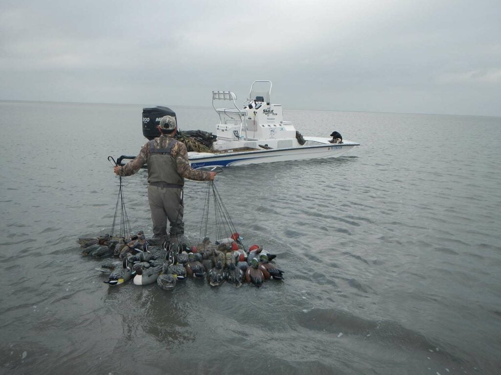 A hunter pulling nets of decoys back towards a boat during grey stormy weather.