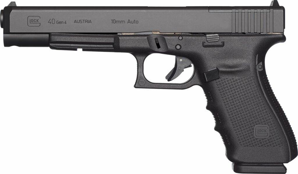 The Glock G40 handgun on a white background.