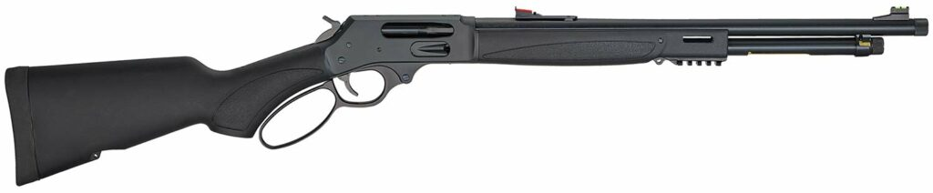 A Henry Model X lever-action rifle on a white background.