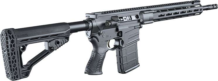 The Savage MSR10 rifle on a while background.