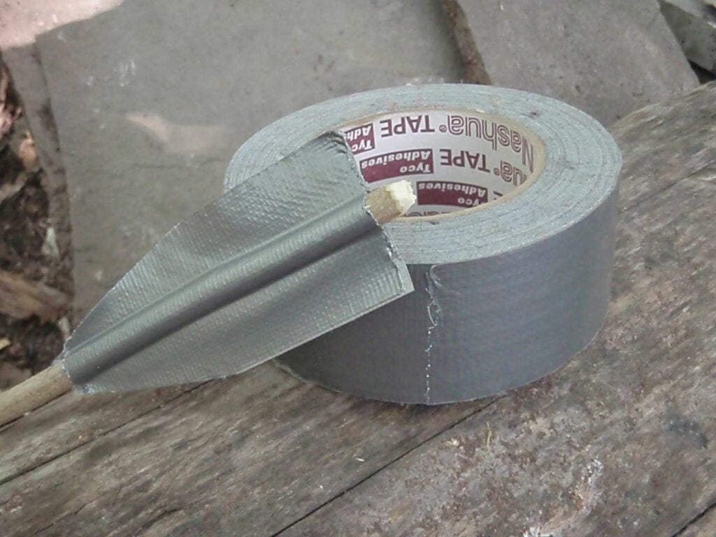Duct tape used as arrow fletchings.