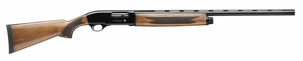 A Weatherby SA-08 shotgun aon a white background.