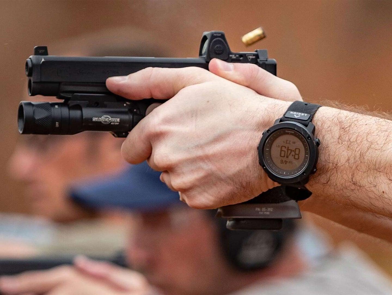 Close up of a handgun grip.