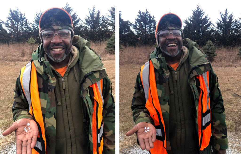 Side by side images of a black man in hunters camo and orange vest smiles and laughs.