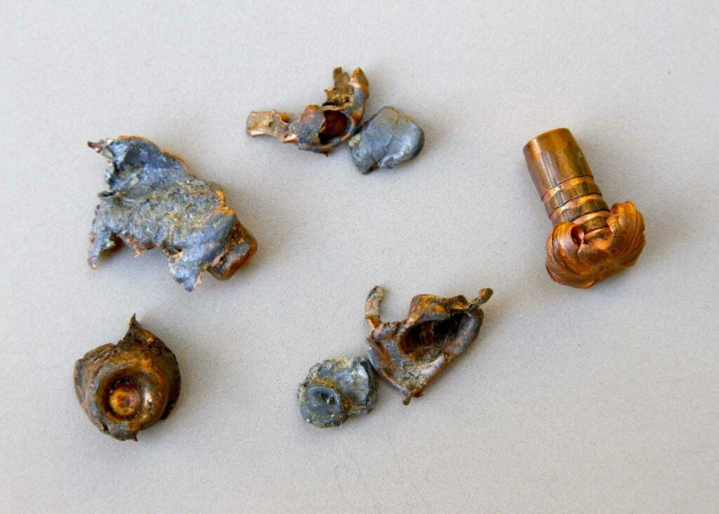 Used bullets changed into a variety of widths, lengths, shapes, fragments and tissue tearing ability.