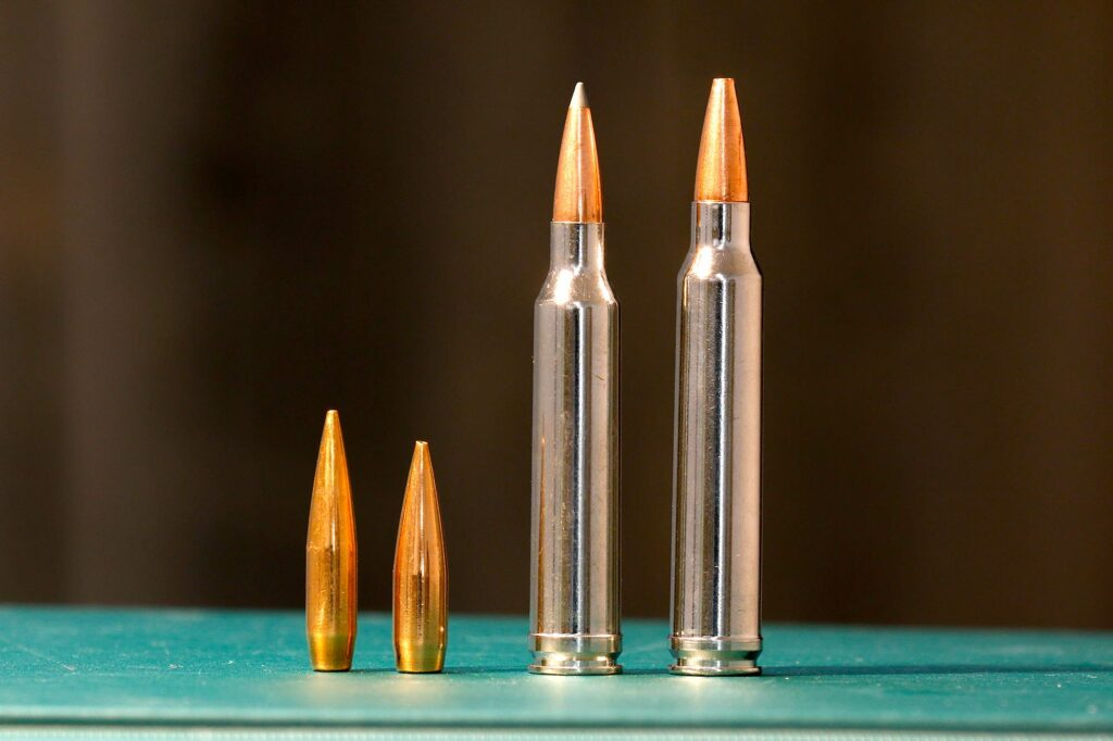 The .300 Win Mag with its slight power capacity advantage over the 7mm Rem. Mag. pushes the same weight bullets about 100 fps faster.