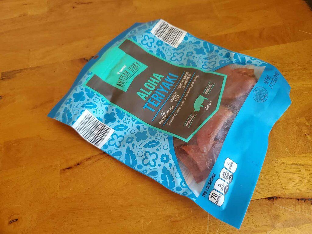 A bag of Aloha Teriyaki beef jerky.