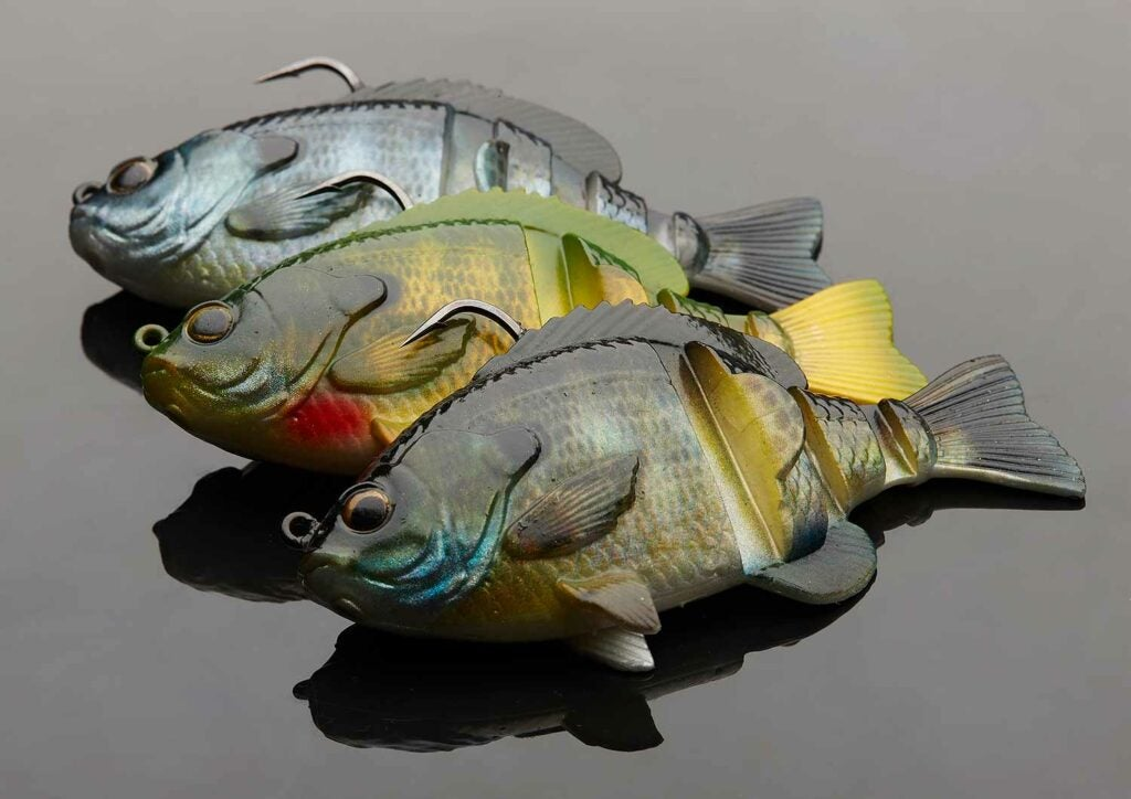 Savage Gear 3D Blue Gill fishing lures on a white background.