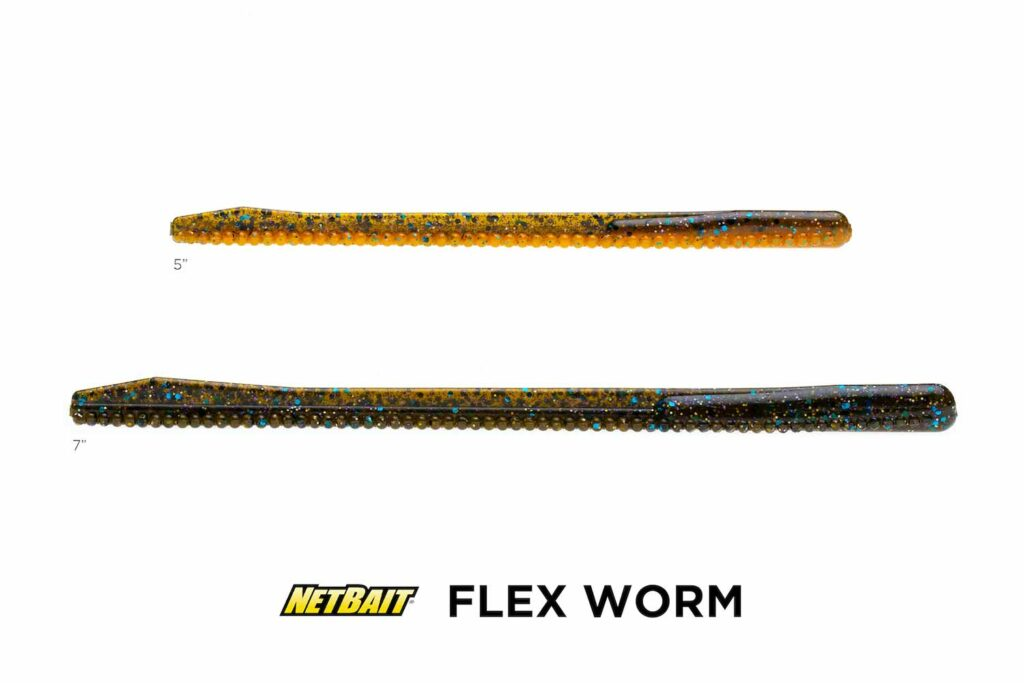 Flex Worm fishing lure on a white background.