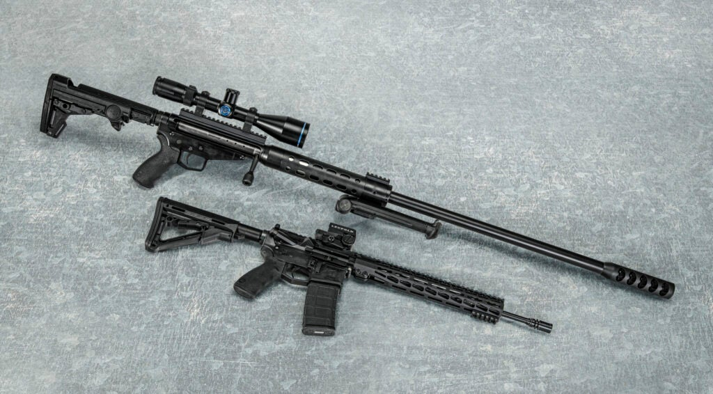 The Ultimate Arms Warmonger (top) has a light 4.5-pound barrel.