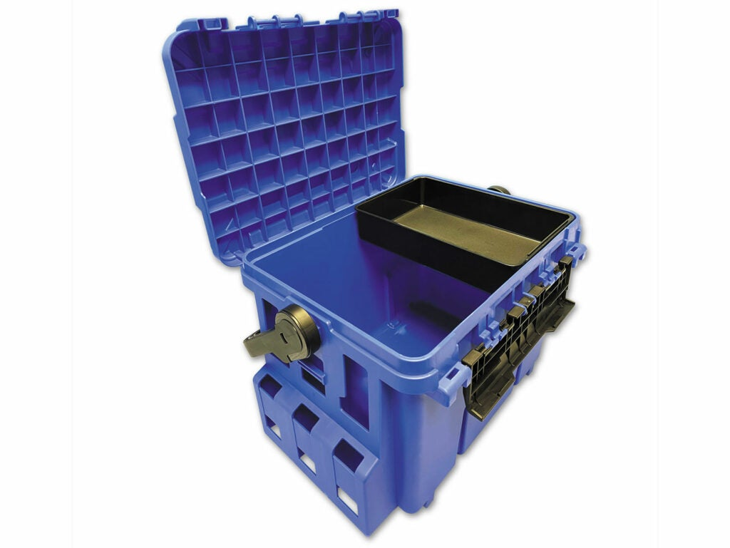 A blue tackle box on a white background.