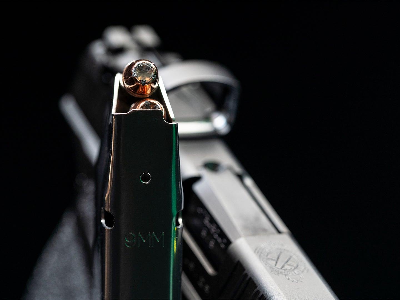 A handgun magazine with rifle bullets.