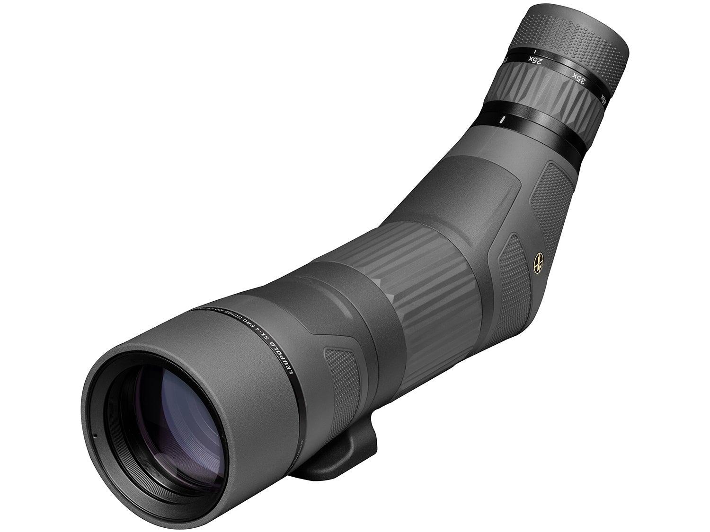 A black spotting scope on a white background.