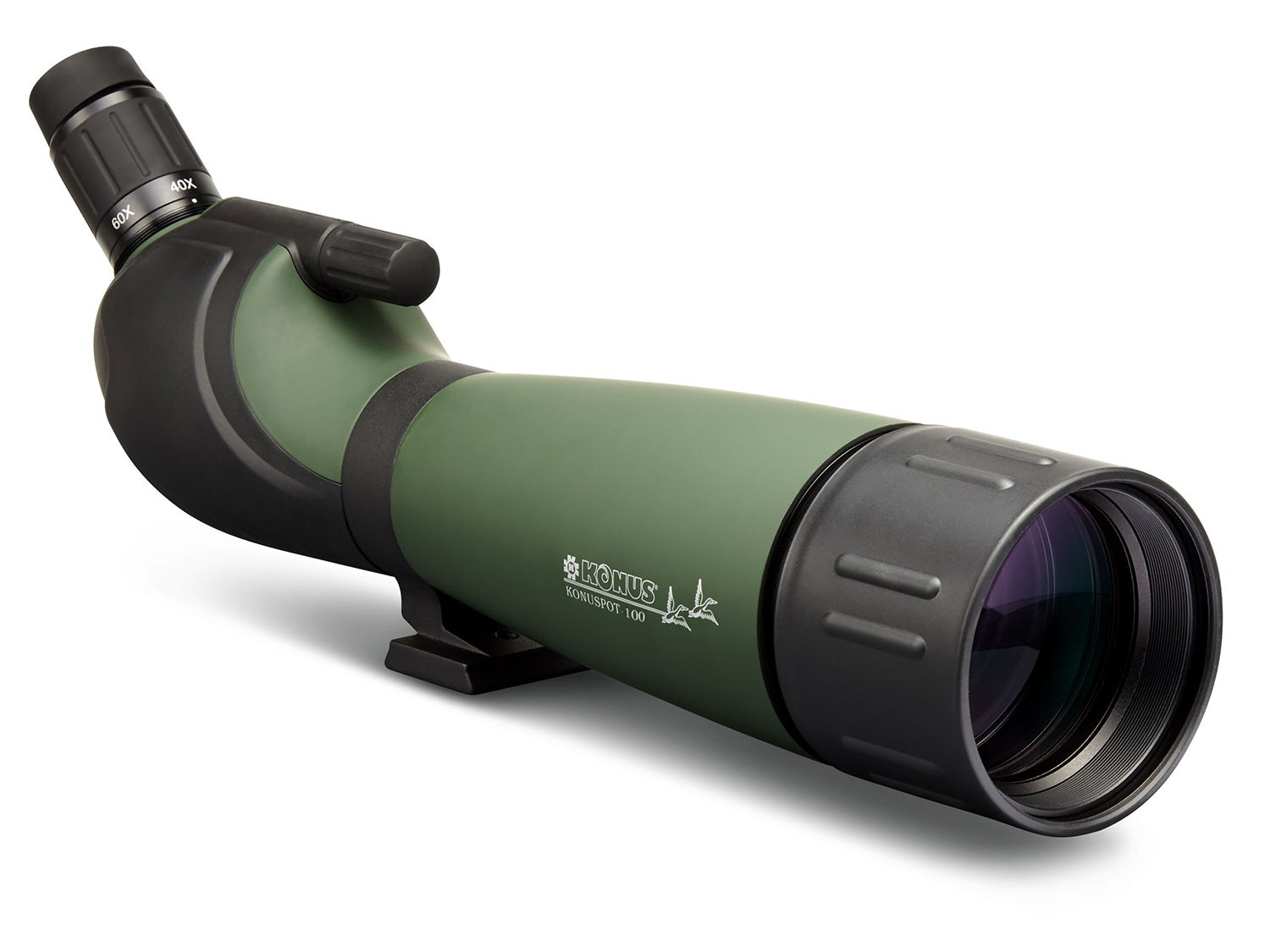 A green and black spotting scope on a white background.