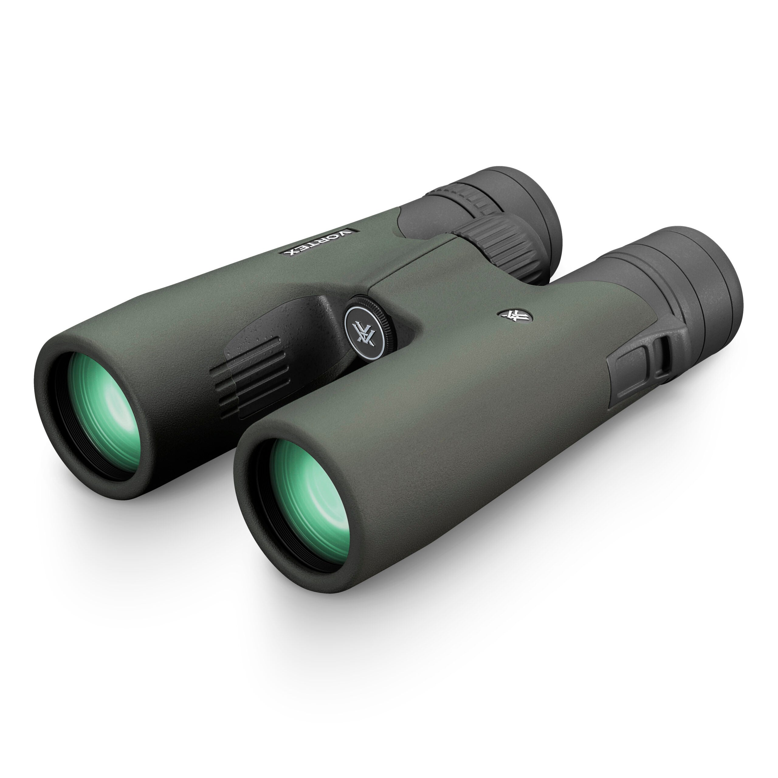Green binoculars with blue lenses on a white background.