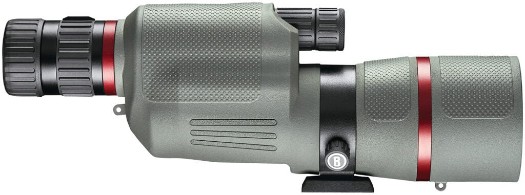 A grey and red banded spotting scope on a white background.
