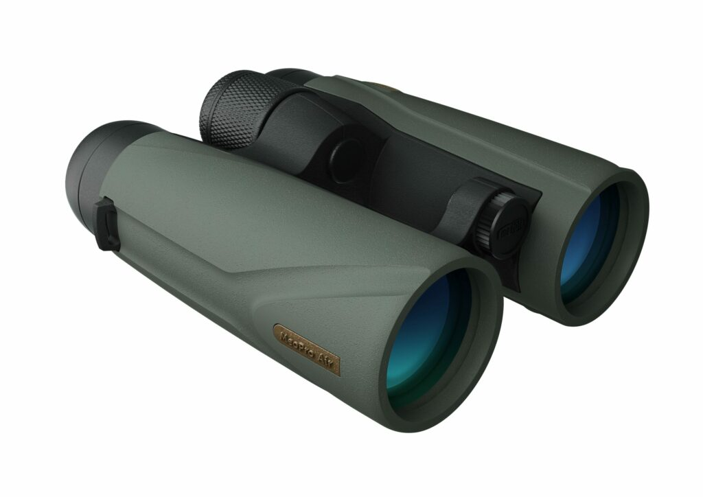 A pair of greenish grey binoculars on a white background.