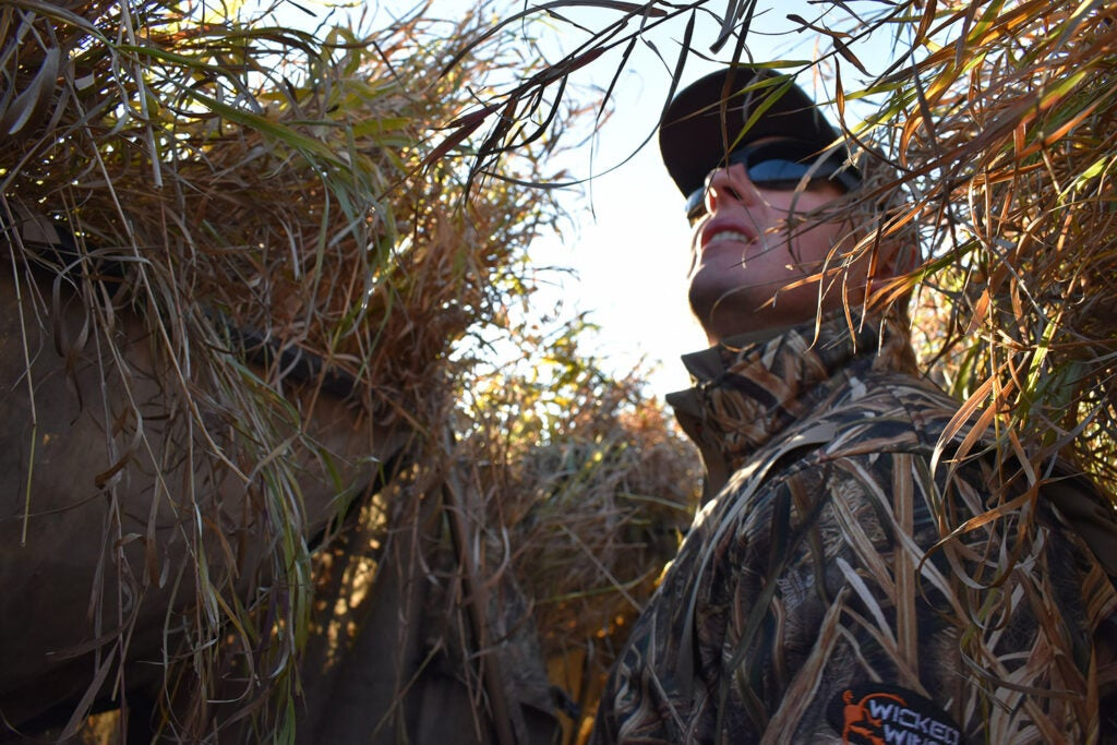 A hunter in a hunting blind.