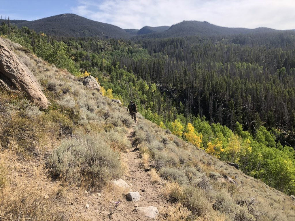 A hunter hiking on a hillside.