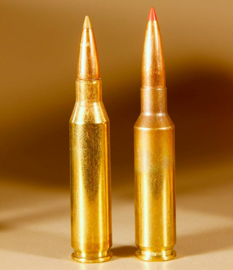 Two rifle cartridges standing on end on a table.
