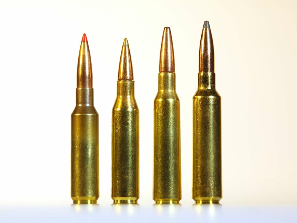Four rifle cartridges standing on end on a table.